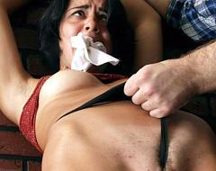 12 pics! Seductive brunette waitress gets violently seduced to sex by the insulted visitor