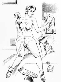 Drawings of housewives playing their BDSM games