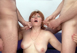 4 clips! Four guys put a team effort to fuck this chubby MILF`s brains out big time
