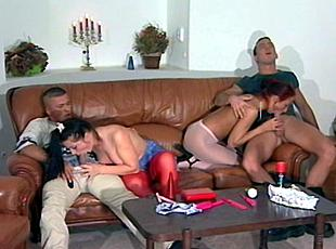 4 clips! Two sexy nubile chicks and two guys