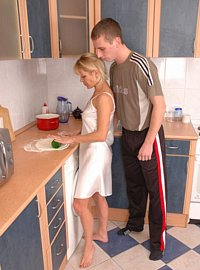 10 incest picts! Horny young son uses his sexy mother in the kitchen!