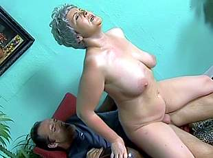 4 clips! The hot granny is sitting on cock and working up a sweat because shes riding so hard