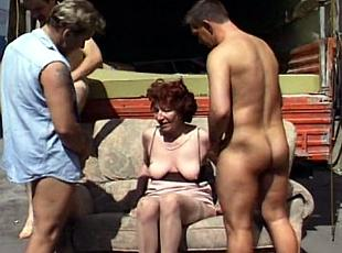 3 clips! Granny fucks with three moving men which bring her a new sofa