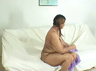 4 clips! Ebony Fatty Teasing and Bend Over with Wet Pussy