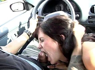 4 clips! New definition of getting a blowjob in the car