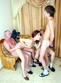 10 incest picts! A mind-blowing family orgy with mom, dad, son and daughter participating!