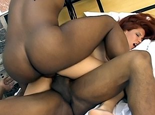 3 clips! Hot Latin redhead getting DPed by two bigcocked black men and taking a double facial cumshot