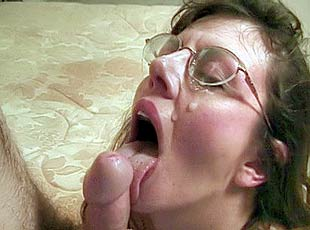 3 clips! Wearing glasses the old chick is fucked and then served a hot load of sticky spunk