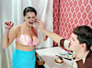 10 pics! Busty mom makes her son fuck her for not appreciating her cooking skills
