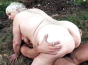4 clips! Mature fatty Anna Mary gets her shaved pussy fucked on the grass