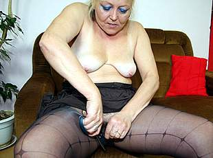 4 clips! His mother in law cuts open her pantyhose and he ends up fucking her naughty old pussy hard
